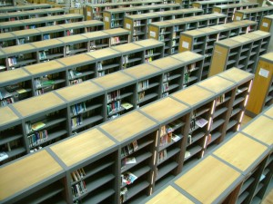 A library of half empty shelves, something that will become more and more common.